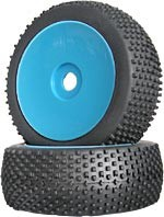 Part#: 45215 - 1/8 Buggy Pre-Mounted Tires - Blue Dish W/ Studs (Pair)