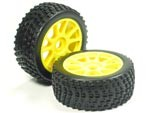 Part#: 45218 - 1/8 Buggy Pre-Mounted Tires, Yellow Spoke W/ Sports Edge Spikes (Pair)