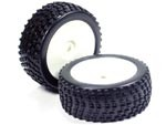 Part#: 45221 - 1/8 Buggy Pre-Mounted Tires, White Dish W/ Sports Edge Spikes (Pair)