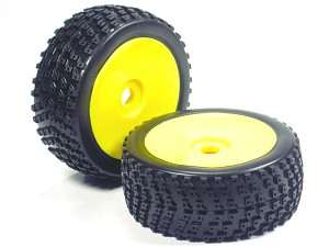 Part#: 45222 - 1/8 Buggy Pre-Mounted Tires, Yellow Dish W/ Sports Edge Spikes (Pair)
